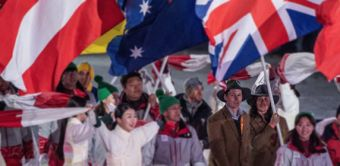 Christian Geiger and Melissa Perrine with the Australian Flag